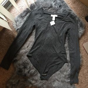 NWT Forever 21 charcoal long sleeve bodysuit